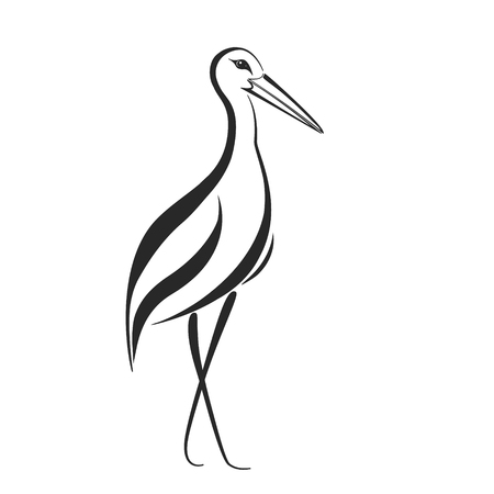 Stylized stork, heron or crane label