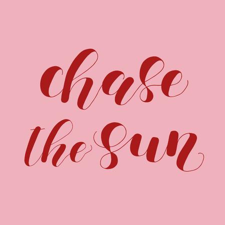 Jage die Sonne. Beschriftungsabbildung. Illustration