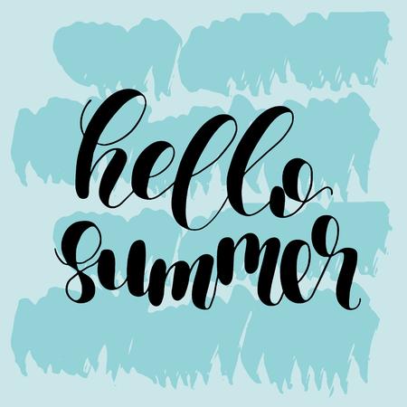 Hallo Sommer. Schriftzug Vektor-Illustration. Inspirierendes Zitat. Moderne Kalligraphie motivieren. Groß für Postkarten, Drucke und Poster, Grußkarten, Hauptdekor, Kleiderentwurf und mehr. Illustration