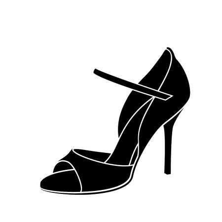 Elegante scarpa da donna abbozzata per ballare il tango argentino. Vettoriali