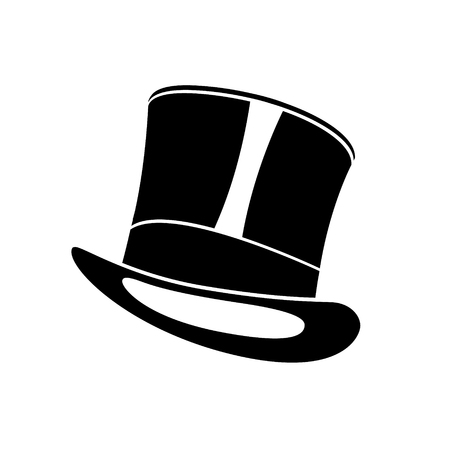 Black retro top hat. Gentleman cylinder hat vector illustration.