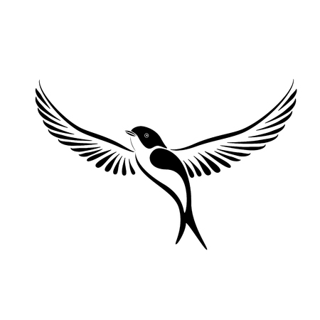 Stylized swallow vector illustration in black and white