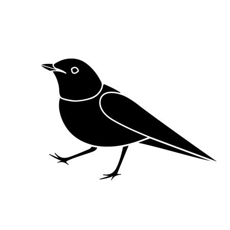 Stylized nightingale bird silhouette isolated on white.