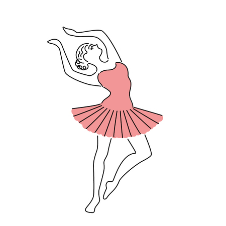 Happy ballerina in pink dress vector illustration. Line drawing.