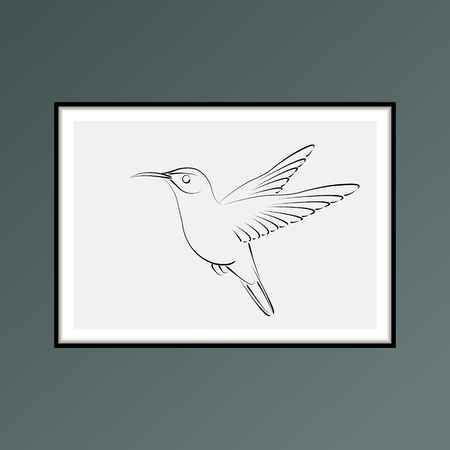 Hummingbird poster on blue background for interior decor