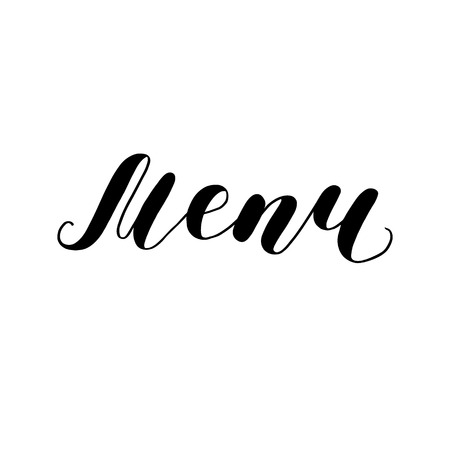 Menu. Bounce lettering illustration in black and white.