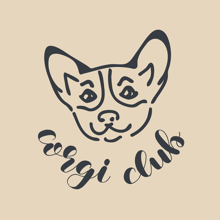 Corgi club badge, banner of design template with lettering. Banco de Imagens
