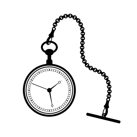 Pocket watch with chain isolated on white background. Ilustração