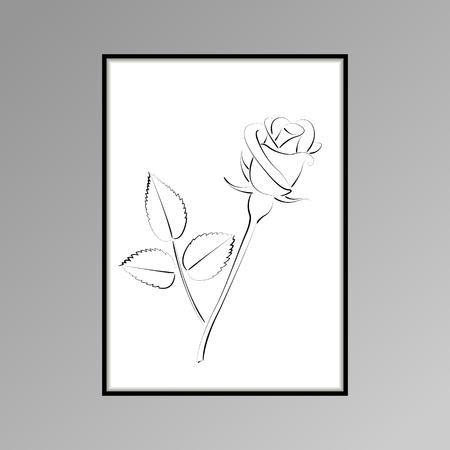 Rose poster for interior decor. Flower on white background.