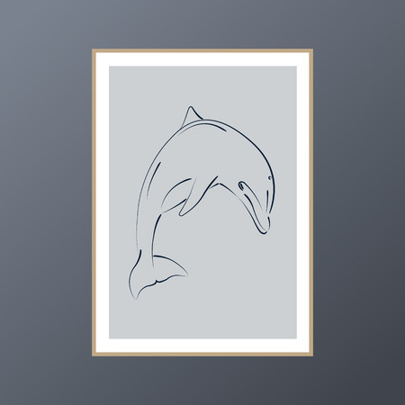 Dolphin sketch poster in pastel black and white for interior decor. Gallery wall art with Scandinavian design.