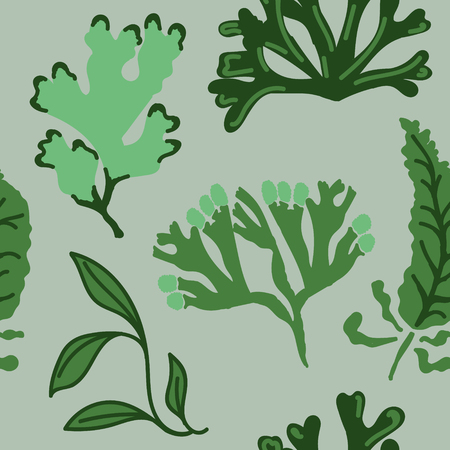Seamless pattern with abstract green seaweed. Flat style repeat background, great for packaging, fabrics, prints and postcards, greeting cards, home decor, wallpaper, apparel design and more.