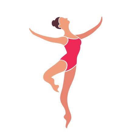 Jumping brunette dancer girl in red leotard isolated on white background