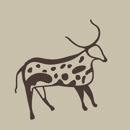 Imitation of prehistoric drawing of an ancient antelope on a cave wall.