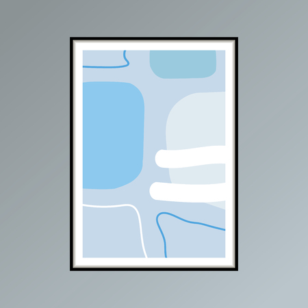 Abstract stains sketch poster in shades of blue for interior decor. Gallery wall art with Scandinavian design. Ilustração