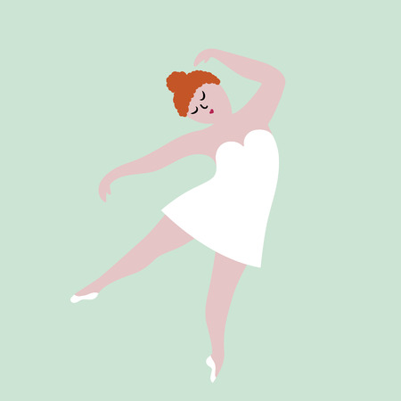 Happy plus size dancing girl in white dress. Body positive concept, flat vector illustration isolated on white background.