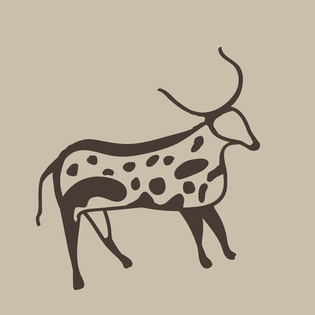 Painting of an ancient antelope on a cave wall Stock Photo