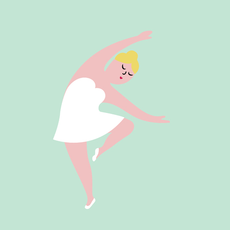 Happy plus size ballerina in white dress. Body positive concept, flat vector illustration isolated on white background.