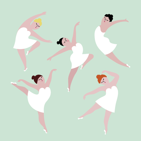 Group of happy plus size dancing girls in white dresses. Body positive concept, flat vector illustration isolated on white background. Ilustração