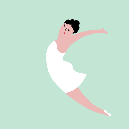 Happy plus size dancing girl. Body positive concept illustration. Imagens