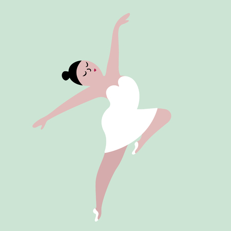 Happy plus size dancing girl. Body positive concept vector illustration. Imagens