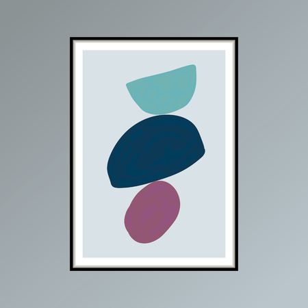 Abstract stains sketch poster in shades of blue and purple for interior decor. Imagens