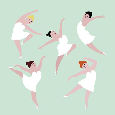 Happy plus size dancing girls set. Body positive concept illustration.