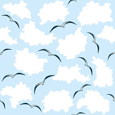 Seamless pattern with seagulls and clouds. Flat style repeat background.