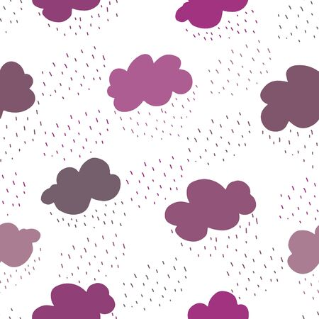 Pink and purple clouds and rain drops seamless pattern. Contemporary minimal repeat vector texture, great for packaging, fabrics, textile, home decor, wallpaper, apparel design and more.