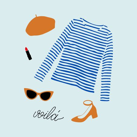Stylish Parisian outfit illustration with blue striped t-shirt, shoes, sunglasses, orange beret and lipstick. Woman modern clothing flat set.