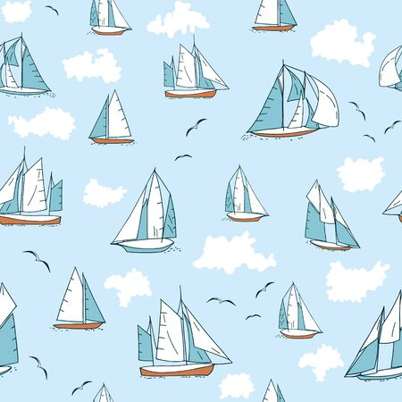 Seamless pattern with yachts, seagulls and clouds. Flat style repeat background.