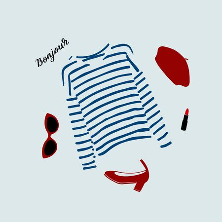 Stylish Parisian outfit illustration with blue striped t-shirt, shoes, sunglasses, burgundy beret and red lipstick.