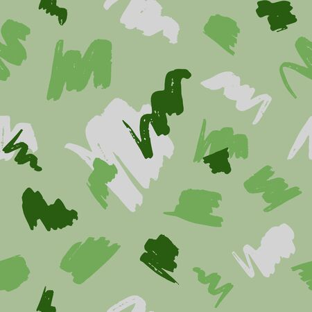 Seamless geometric pattern with abstract brush strokes on green background. 写真素材 - 132095937