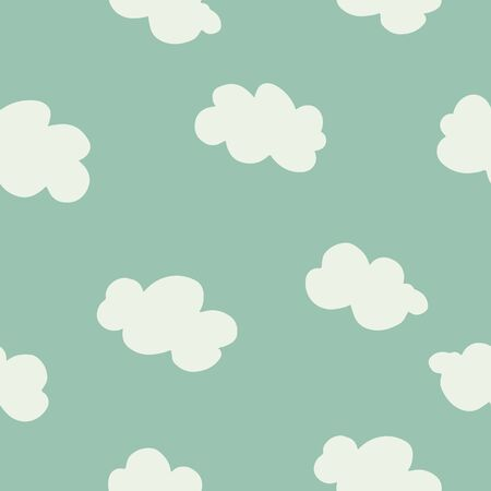 White clouds on blue sky seamless pattern. Contemporary minimal repeat ornament