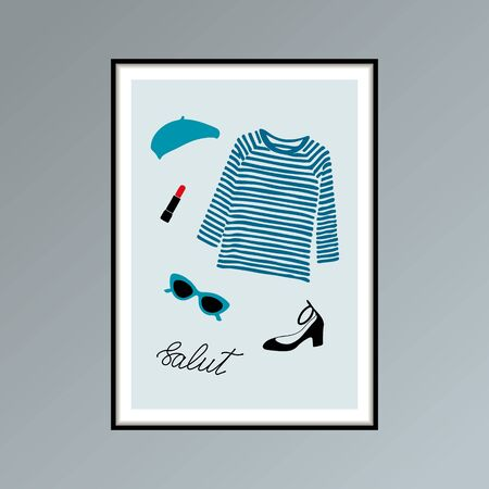 Poster with beret, striped longlsleeve shirt, lipstick, shoe and hand lettered word salut, hello in French. Stok Fotoğraf