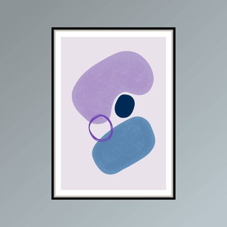 Abstract stains sketch poster in shades of blue and purple for interior decor. 写真素材
