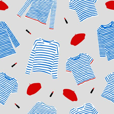 Seamless pattern with and drawn blue striped longsleeve t-shirts, red berets and lipsticks. 写真素材 - 136976793