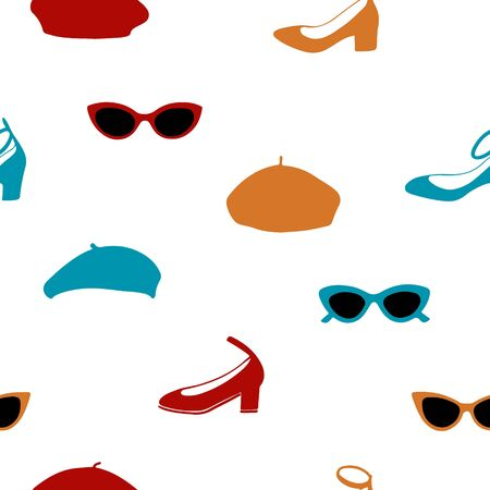 Hand drawn seamless pattern with sunglasses, shoes and berets. 写真素材 - 136970864