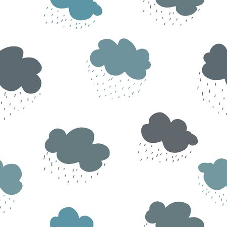 Blue green and grey clouds and rain drops seamless pattern. 写真素材 - 138273810