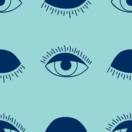hand drawn seamless pattern with open and winking eyes.