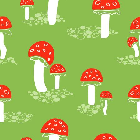 Red fly agaric mushrooms seamless pattern on green