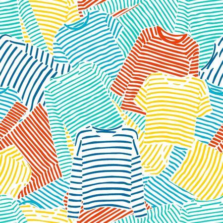 Striped long sleeve t-shirts seamless pattern.
