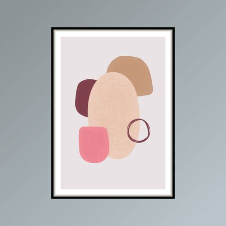 Abstract stains sketch poster in shades of pink for interior decor