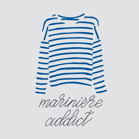 Blue striped longsleeve t-shirt and handlettered phrase mariniere addict. 写真素材