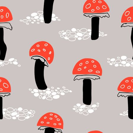 Orange fly agaric mushroom seamless pattern on greyish background. 写真素材 - 148424250