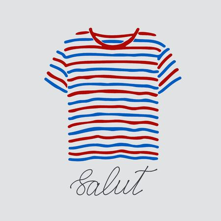 Blue and red striped t-shirt and handlettered word salut, French for hello.