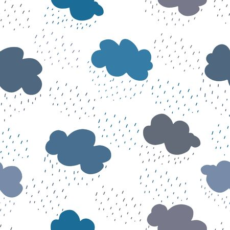 Blue and grey clouds and rain drops seamless pattern.