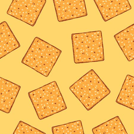 Hand drawn crackers with sesame seeds seamless pattern. Buscuit sketch repeat background.