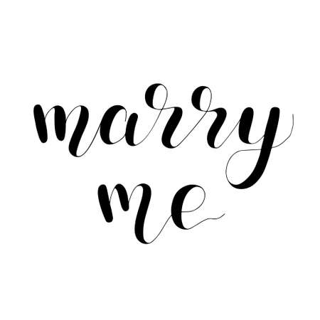Marry me, handwritten quote. Hand drawn romantic ink lettering illustration. 写真素材 - 151584458