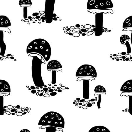 Black fly agaric mushrooms seamless pattern on white background.