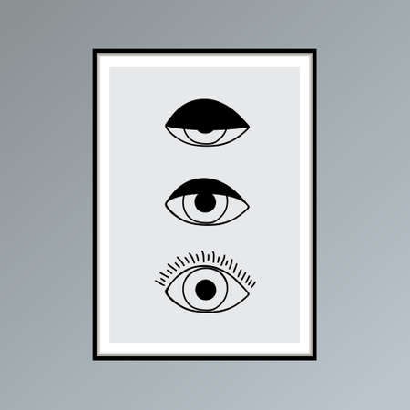 Cartoon open, winking and closed eyes poster in shades of gray for interior decor. 写真素材 - 154893277